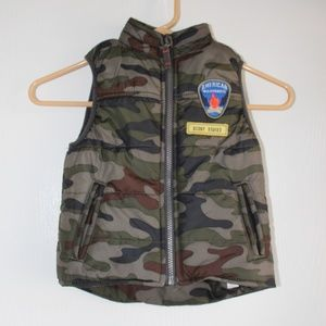 Carter's Boy's Sz 3T Puffer Vest Military Zip up